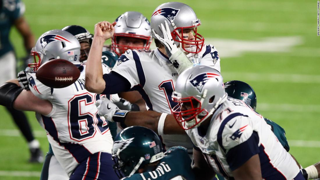 Brady fumbled the ball after a hit by Philadelphia's Brandon Graham, not pictured. Philadelphia added a field goal after the turnover, and that made the score 41-33.