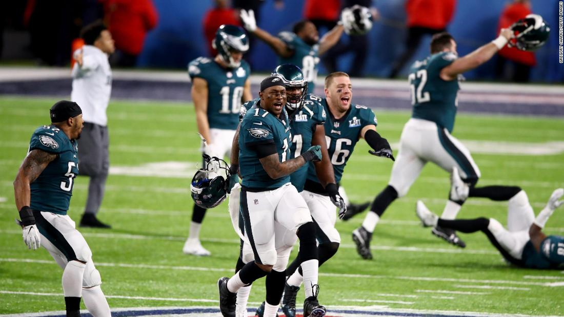 The Eagles run onto the field after the final seconds ticked off the clock. The game was played at US Bank Stadium in Minneapolis.