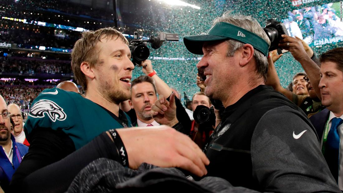 Foles celebrates with head coach Doug Pederson after the game. Foles passed for 373 yards and three touchdowns, and he also caught a touchdown pass. And he wasn't even the team's starter for most of the season. He took over late in the year when Carson Wentz got injured.