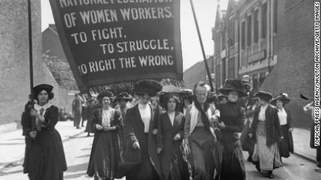 Suffragettes organized under the National Federation of Women Workers at a demonstration in London in 1911.