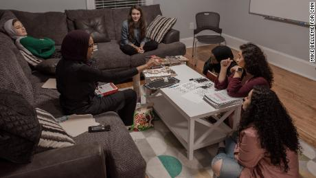 A group of students plan a book exchange at The Light House. Farris wanted the house to be a gathering place for young Muslims.
