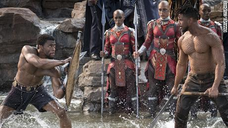 Chadwick Boseman (left) and Michael B. Jordan in 'Black Panther.'