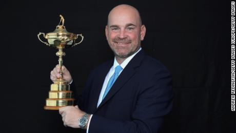 PARIS, FRANCE - OCTOBER 17:  Thomas Bjorn of Denmark, Captain of the Team Europe poses for a portrait with the Ryder Cup during the Ryder Cup 2018 Year to Go Captains Official Photocal on October 17, 2017 in Paris, France.  (Photo by Andrew Redington/Getty Images)