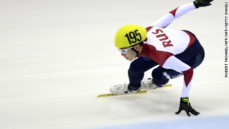 Viktor Ahn of Russia competes during the men's 1500m preliminaries of the ISU World Cup short track speed skating event in Dresden, Germany, on February 6, 2015.