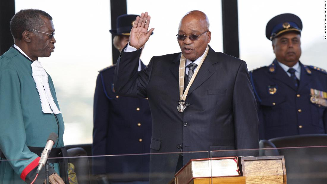 Zuma takes an oath during his inauguration in May 2009.