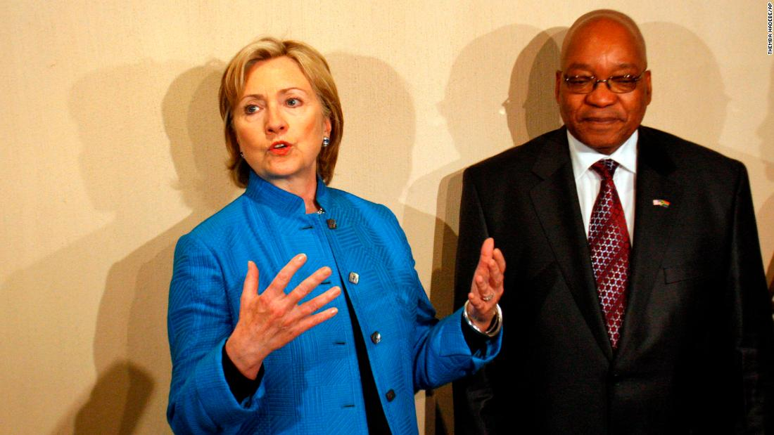 US Secretary of State Hillary Clinton addresses journalists next to Zuma in August 2009. The two met in Durban, South Africa.