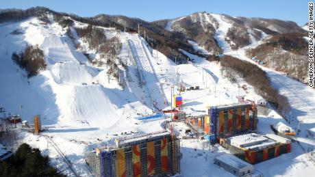PYEONGCHANG-GUN, SOUTH KOREA - FEBRUARY 05:  A general view of the Slopestyle venue, Moguls venue and Aerials venue at Phoenix Park during previews ahead of the PyeongChang 2018 Winter Olympic Games at Phoenix Park on February 5, 2018 in Pyeongchang-gun, South Korea.  (Photo by Cameron Spencer/Getty Images)