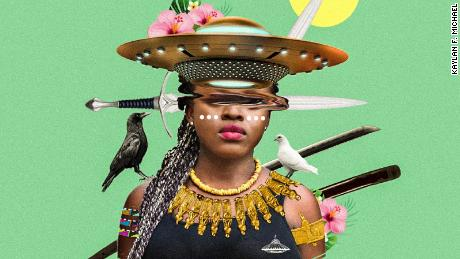 An Afrofuturist image that combines tradition with technology.