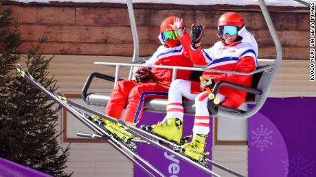 North Korean athletes on a chair lift at the Alpine skiing venue for the Winter Olympics in Pyeongchang, South Korea, February 6.
