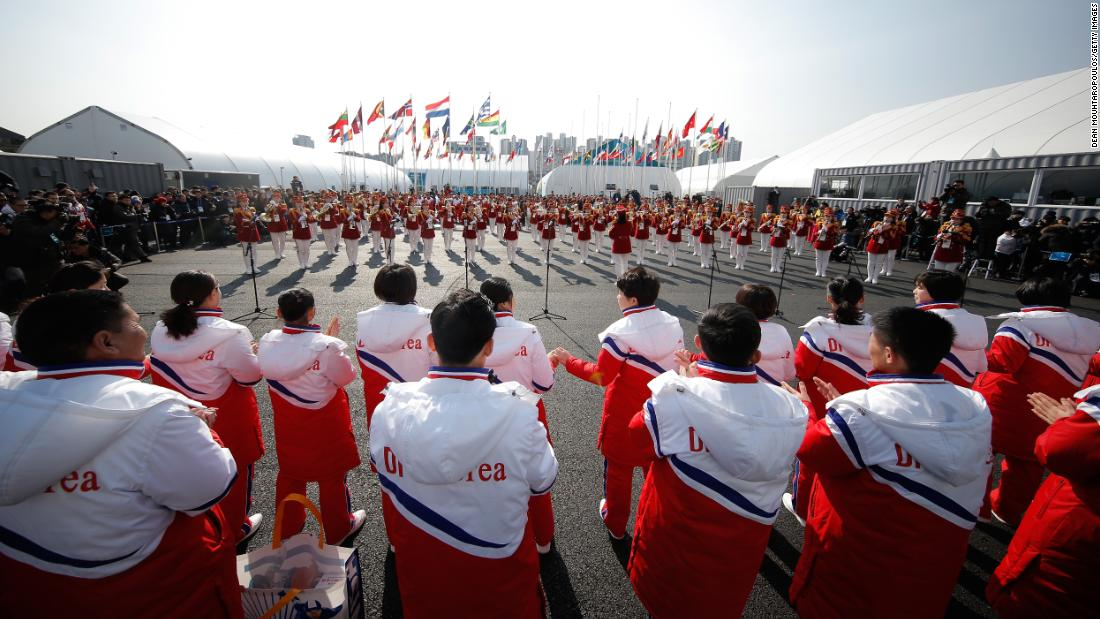North Korean athletes look on during the welcoming ceremony ahead of the Pyeong Chang 2018 Winter Olympic Games