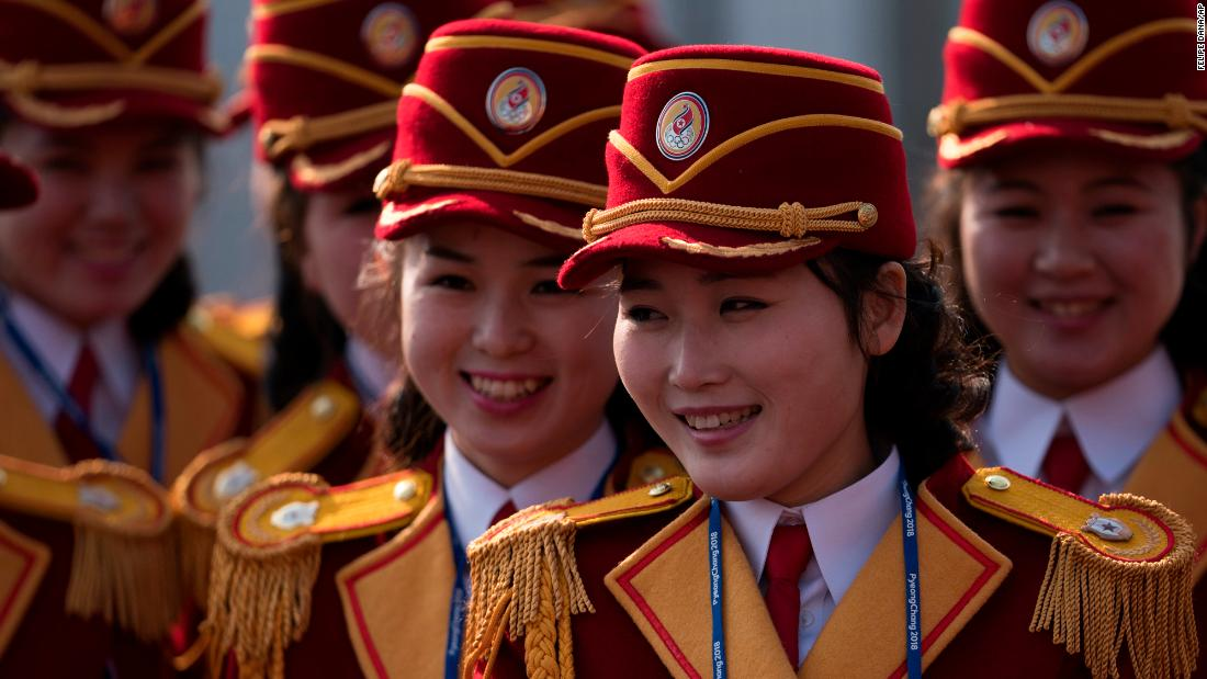 Members of the North Korea cheering group gather before a welcoming ceremony inside the Gangneung Olympic Village before the 2018 Winter Olympics
