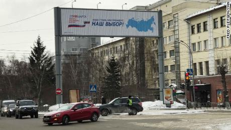 "An election billboard in Novosibirsk reads, ""Our Election!"""