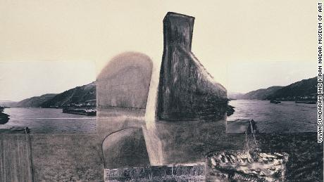 LN Shifting the Elements II (1988), charcoal and photographs on paper