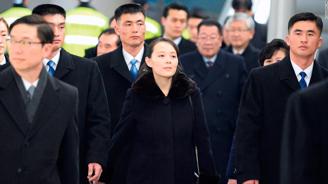 Kim Yo Jong center sister of North Korean leader Kim Jong Un arrives at Incheon International Airport in South Korea on Friday February 9. Kim is part of a high-level North Korean delegation attending the Pyeong Chang Winter Olympics. She's the fir
