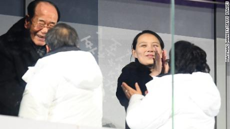 Kim Yo-Jong applauds during the Opening Ceremony of the PyeongChang 2018 Winter Olympic Games.
