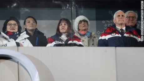 US Vice President Mike Pence (front R), his wife Karen (front C), North Korea's leader Kim Jong Un's sister Kim Yo Jong (2nd L) and Kim Jung-Sook (L), the wife of South Korea's President Moon Jae-in, attend the opening ceremony.