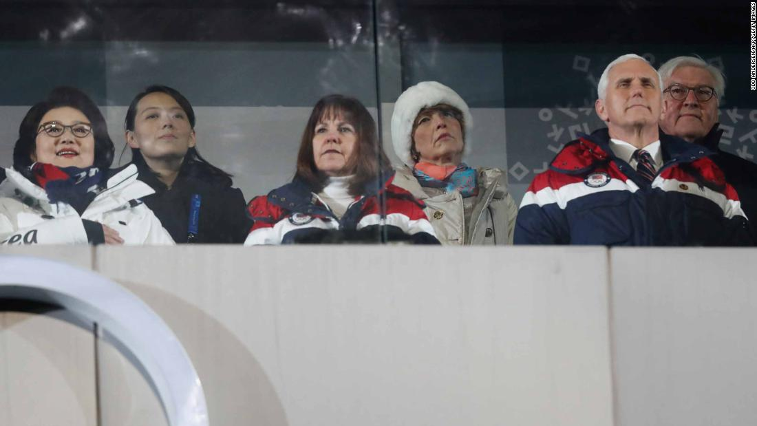 US Vice President Mike Pence, front right, attends the ceremony with his wife, Karen. Kim Yo Jong, the sister of North Korean leader Kim Jong Un, is seated in the back row and on the left. She was a guest of South Korean President Moon Jae-in, not pictured. At left is Moon's wife, Kim Jung-sook.
