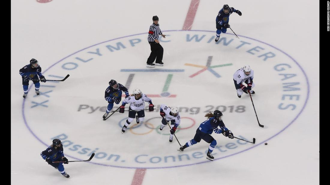 USA battles Finland in the preliminary round of women's ice hockey. The US women won, 3-1.