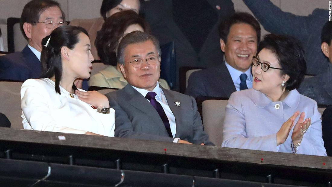 Kim Yo Jong, North Korean leader Kim Jong Un's sister (at left), talks with South Koran President Moon Jae-in and his wife Kim Jung-sook during a performance of North Korea's Samjiyon Orchestra at the National Theater in Seoul, South Korea.