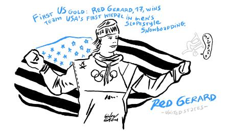 Winter Olympics Red Gerard snowboard gold cartoon
