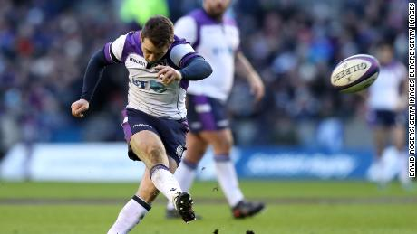 Greig Laidlaw kicks a penalty on his way to 22 points in Scotland's 32-26 win over France at Murrayfield in the Six Nations.