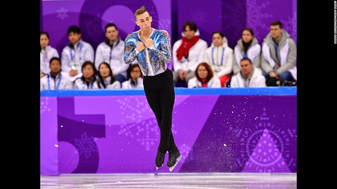 American figure skater Adam Rippon competes in the team event.