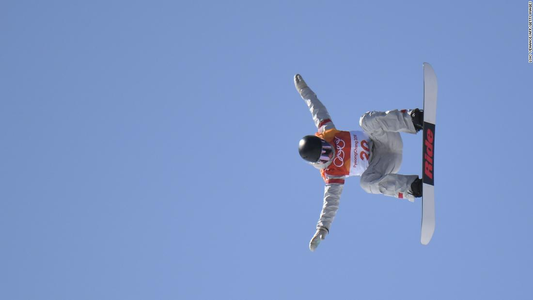 American snowboarder Jessika Jenson competes in the slopestyle final.