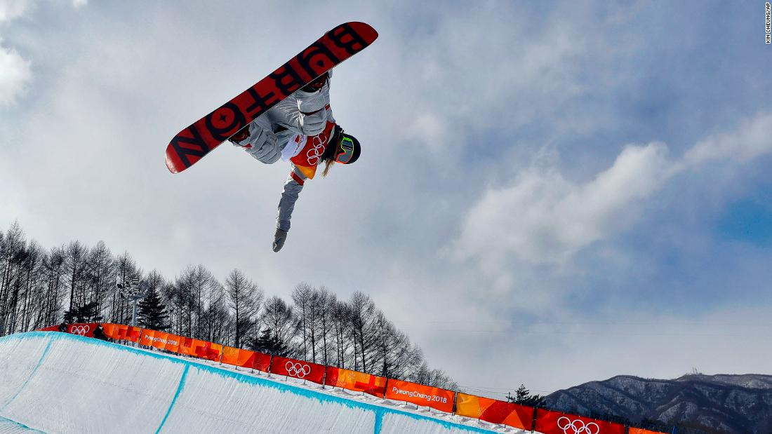 American snowboarder Chloe Kim completes a qualifying run on the halfpipe.