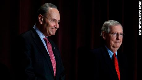 LOUISVILLE, KY - FEBRUARY 12: U.S. Senate Majority Leader Mitch McConnell (right) (R-KY) and U.S. Senate Democratic Leader Chuck Schumer (D-NY) stand on the stage together at the University of Louisville's McConnell Center where Schumer was scheduled to speak February 12, 2018 in Louisville, Kentucky. Sen. Schumer spoke at the event as part of the Center's Distinguished Speaker Series, and Sen. McConnell introduced him. (Bill Pugliano/Getty Images)