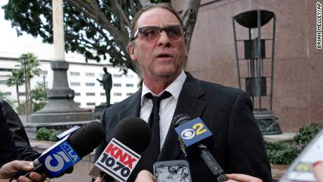 Michael Channels speaks to reporters after a hearing in Los Angeles Superior Court on January 8.