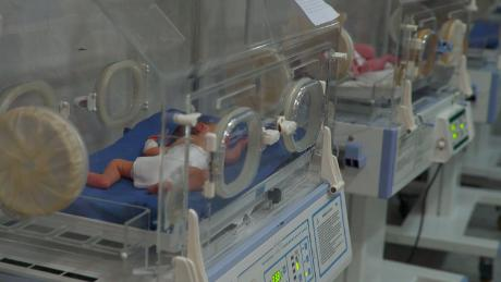 Two of the babies who were evacuted from a main hospital in Idlib province after it was hit in an airstrike.