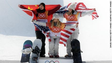 Silver medalist Jiayu Liu of China (left), Chloe Kim of USA (center) and Arielle Gold of USA.