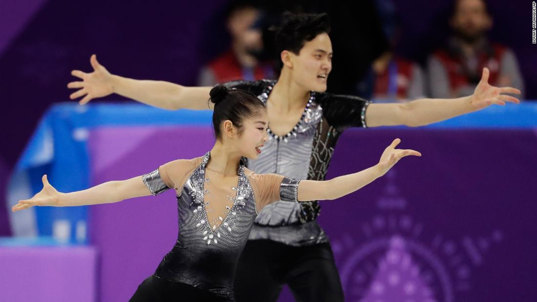 The North Korean figure-skating pair of Ryom Tae Ok and Kim Ju Sik perform their short program. They qualified for Thursday's free skate.