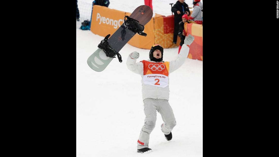 American snowboarder Shaun White celebrates after winning gold in the halfpipe. White was in second place going into his final run, but he came up with a clutch performance to overtake Japan's Ayumu Hirano and reclaim the Olympic title. White won gold in 2006 and 2010 but finished fourth in 2014.