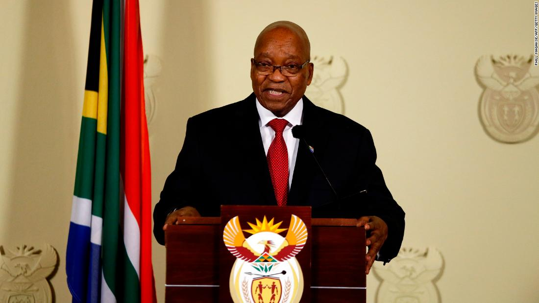 "Zuma speaks to the nation at the Union Buildings in Pretoria on February 14. <a href=""https://edition.cnn.com/2018/02/14/africa/jacob-zuma-resigns-as-south-africa-president-intl/index.html"">He announced his resignation </a>during the nationally televised address. <br />""No life should be lost in my name and also the ANC should never be divided in my name. I have therefore come to the decision to resign as President of the Republic with immediate effect."""