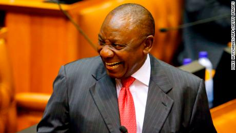 Acting President of South Africa Cyril Ramaphosa reacts as he arrives at Parliament in Cape Town, on February 15, 2018 for a session to officially deal with former President Zuma's resignation and his possible election and swearing.