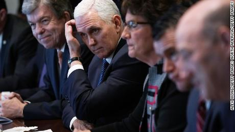 WASHINGTON, DC - FEBRUARY 13:  (L-R) U.S. Sen. Roy Blunt (R-MO), Vice President Mike Pence, Rep. Jackie Walorski (R-IN), Sen. Todd Young (R-IN), and Director of the National Economic Council Gary Cohn listen during a meeting between President Donald Trump and congressional members in the Cabinet Room of the White House February 13, 2018 in Washington, DC. President Trump held a meeting with congressional members to discuss trade.  (Photo by Alex Wong/Getty Images)