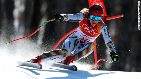 Czech Republic's Ester Ledecka competes in the women's super-G at the 2018 Winter Olympics in Jeongseon, South Korea, Saturday, Feb. 17, 2018.