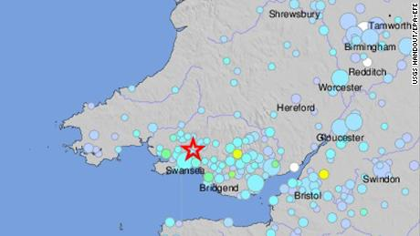 epa06536964 A handout shake map made available by the US Geological Survey (USGS) on 17 February 2018 show a shakemap of a 4.4 magnitude earthquake centred on south Wales, Britain. The earthquake has shook buildings across parts of Wales and England, with people reporting strong tremors. The British Geological Survey reported that the epicentre was approximately 20km north-north-east of Swansea, Wales, and at a depth of 7.4km.  EPA-EFE/USGS HANDOUT  HANDOUT EDITORIAL USE ONLY/NO SALES