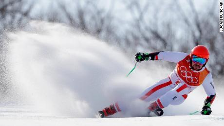 Austria's Marcel Hirscher competes during the first run of the men's giant slalom at the 2018 Winter Olympics in Pyeongchang, South Korea, February 18.
