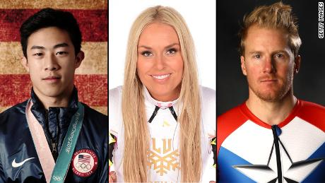 Nathan Chen, Lindsey Vonn and Ted Ligety