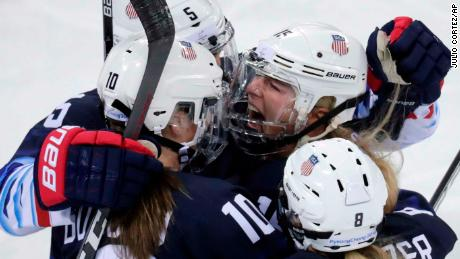 Gigi Marvin (19), of the United States, celebrates with her teammates after scoring a goal against Finland during the first period of the semifinal round of the women's hockey game at the 2018 Winter Olympics in Gangneung, South Korea, Monday, Feb. 19, 2018. (AP Photo/Julio Cortez)