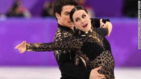 Canada's Tessa Virtue and Canada's Scott Moir compete in the ice dance short dance of the figure skating event during the Pyeongchang 2018 Winter Olympic Games at the Gangneung Ice Arena in Gangneung on February 19, 2018. / AFP PHOTO / Mladen ANTONOV        (Photo credit should read MLADEN ANTONOV/AFP/Getty Images)