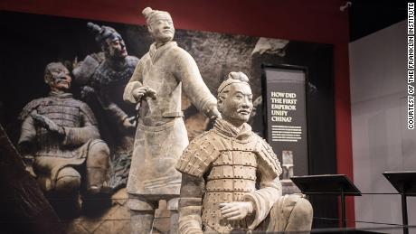 Terracotta warriors on display at Philadelphia's Franklin institute.