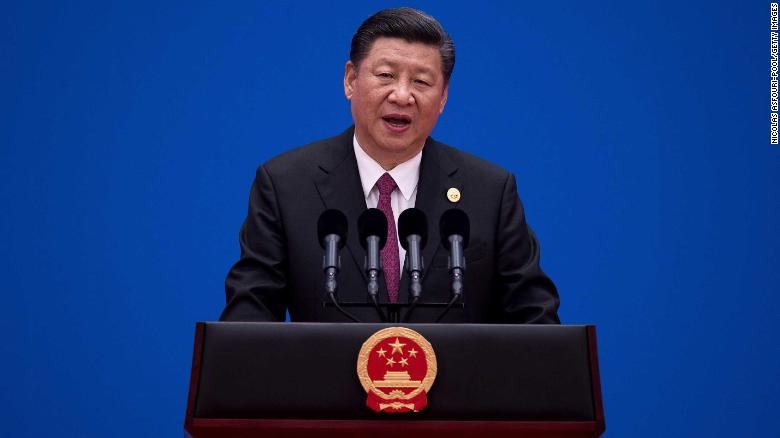 BEIJING CHINA- MAY 15 Chinese President Xi Jinping attends a news conference at the end of the Belt and Road Forum for International Cooperation