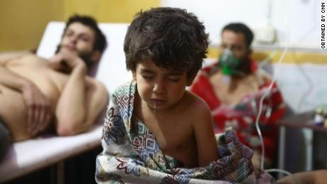 Sixteen people, including six children, were treated in Eastern Ghouta on Sunday for exposure to chemicals, the Syrian American Medical Society Foundation said.