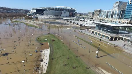 The swollen Ohio River near Paul Brown Stadium in Cincinnati on February 26.