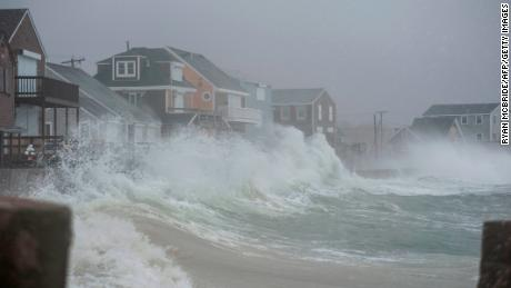 """Scituate, Massachusetts, is engulfed as a """"bomb cyclone"""" hits the US east coast on March 2, 2018."""
