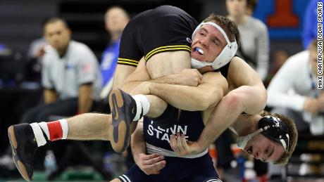 Mar 4, 2018; East Lansing, MI, USA; Penn State Nittany Lions wrestler Zain Rutherford competes against Iowa Hawkeyes wrestler Brandon Sorensen during the Big Ten wrestling championship at the Jack Breslin Student Events Center. Mandatory Credit: Mike Carter-USA TODAY Sports