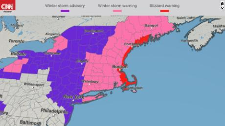 Parts of Massachusetts, including Cape Cod, are under a blizzard warning.